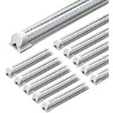 Barrina LED Shop Light, 4FT 40W 5000LM 5000K, Daylight White, V Shape, Clear Cover, Hight Output, Linkable Shop Lights, T8 LE