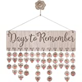 Family Friend Birthday Board Plaque DIY Wall Hanging Wooden Birthday Reminder Calendar with 50pcs Wooden Tag and 1 pc Wooden