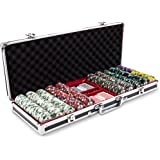 Claysmith Gaming 500ct Showdown Poker Chip Set in Black Aluminum Carry Case, 13.5-Gram Heavyweight Clay Composite