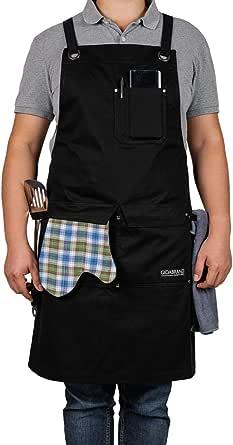 プロフェッショナルグレード シェフキッチンエプロン | 丈夫なコットン 料理 BBQ グリル 男性と女性デザイン クイックリリースバックル付き | MからXXL | シェフへのギフトに - 笑顔をもたらす