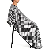Cutting Hair Waterproof Cloth with Press Button Black and White Stripes, Yeefant Haircut Cloth Salon Barber Gown Cape Hairdre