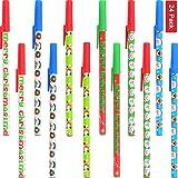Sunshane 24 Pieces Christmas Stick Pens Set Holiday Ballpoint Pens for Christmas Home Decor Party Gift (Color Set 1)