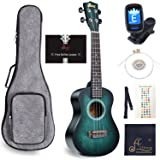 WINZZ Concert Ukulele Vintage Hawaiian with Bag, Tuner, Strap, Extra Strings, Fingerboard Sticker, 23 Inches, Dark Cyan