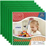 """Lekebaby Classic Building Base Plates 10"""" x 10"""" Baseplates Compatible with All Major Brands, Green Building Board, Pack of 6"""