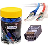 Shielded RJ45 CAT6 End Pass Through Internal Ground Connector with Strain Relief by Platinum Connector - Ethernet Modular Plu