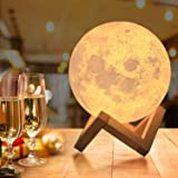 OxyLED Moon Lamp, 16 Colors 5.9 Inch 3D Print LED Moon Light with Stand Remote Touch Tap Control and USB Rechargeable, Night