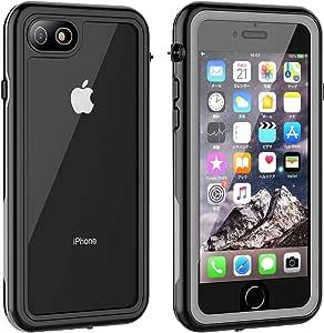 iPhone8 ケース iPhone7 ケース 防水ケース 耐衝撃ケース 4.7インチ対応 360°全方向保護 米軍MIL規格取得 フェイスID認証・Qi充電対応 超軽量 塵・キズ·落下防止 高耐久ケース 風呂 雨 プール 海 (黑)
