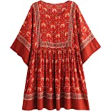 R.Vivimos Women Summer Cotton Half Sleeve Casual Loose Bohemian Floral Tunic Dresses