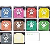 シャチハタ 手形スタンプパッド パームカラーズ 全10色セット + ロコネコカード