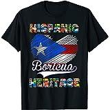 国立ヒスパニック遺産月プエルトリコ国旗 ボリチュア Tシャツ