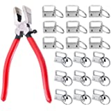 """Prerrysurpasse 60Sets 1""""Key Fob Hardware with 1Pcs Key Fob Pliers , Glass Running Pliers Tools with Jaws, Studio Running Plie"""