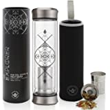 Teabloom All-Beverage Tumbler – 14 oz / 400 ml – Double Wall Insulated Glass Travel Flask – Hot Tea & Cold Brew Coffee Thermo