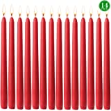 YYCH 14 pcs Unscented Red Taper Candle, Hand Poured Wax Candles 10 Inch x 7/8 Inch, Home Décor, Wedding Receptions, Baby Show