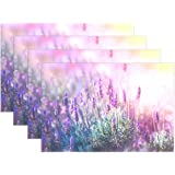 Lavender Flowers Field Print Placemats, COOSUN Heat-Resistant Placemats Stain Resistant Anti-Skid Washable Polyester Table Ma