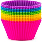 Zulay 12 Pack Silicone Cupcakes Liners - Reusable Non Stick Silicone Cupcake Baking Cups & Silicone Muffin Liners For Baking