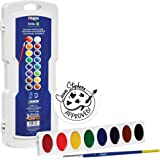 Prang Oval Pan Watercolor Set, 16 Classic Colors with No. 9 Brush (16000)