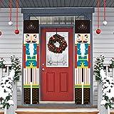 LioNergy Nutcracker Christmas Porch Sign, Xmas Decor Banners, Patriotic Christmas Decorative Nutcracker Banner for Holiday Ho