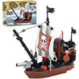 BRICK STORY Pirate Ship Building Blocks Toys with 3 Mini Toy Figures, Pirate Ships Toy Boat Building Kit Construction Toys Bu