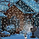 LED Snowfall Projector Lights Christmas Snowflake Projector Lamp with Wireless Remote Indoor Outdoor Waterproof Snow Falling