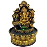 Ganesha Statues Indoor Water Fountain, Elephant Buddah Statute Tabletop Fountain with Rolling Ball, Zen Fountain for Home Off