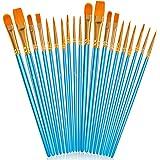 Acrylic Paint Brush Set, 2 packs/20pcs Nylon Hair Brushes for All Purpose Oil Watercolor Painting Artist Professional Kits