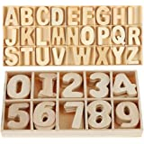 216-Pcs Wooden Letters and Numbers Set- Wooden Capital Letters Numbers with Storage Tray - Wooden Alphabet Craft Letters Smoo