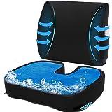 Cooling Gel Seat Cushion for Office, Coxyx Memory Foam Car Seat Cushion & 3D Mesh Lumbar Support Pillow, Orthopedic Seat Cush