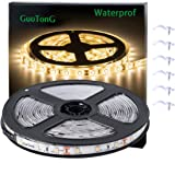 GuoTonG Flexible Waterproof LED Light Strip 300 Units SMD 2835 LEDs 3000K Warm White 12V LED Tape Led Ribbon 16.4ft/5m Lighti