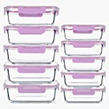 10-Pack Rectangle Glass Meal Prep Containers,(12Oz+34Oz) BPA-Free Glass Food Storage with Airtight Lids for Lunch(Purple)