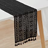 Styled World Macrame Table Runner Black | Bohemian Crochet Table Runner with Tassels | Farmhouse Rustic Woven Lace Dining Tab