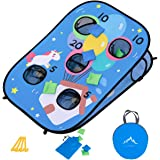 Himal Collapsible Portable 5 Holes Game Set Bounce Bean Bag Toss Game with 10 Bean Bags,Tic Tac Toe Game Double Games (3 x 2-