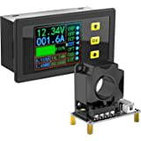 Charge-Discharge Monitor, DROK 0-90V 100A DC Ammeter Voltmeter Battery Capacity Amp-Hour Watt-Hour Power Time Multimeter LCD