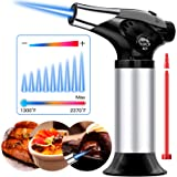 QIBOX Butane Torch, Refillable Culinary Blow Torch, Mini Kitchen Cooking Torch Lighter with Safety Lock & Adjustable Flame fo