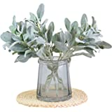 Tinsow Artificial Flocked Lambs Ear Leaves Dusty Miller Stems Flocked Oak Leaves Lamb's Ear Leaf for Home Wedding DIY Floral