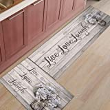 Infinidesign 2 Piece Kitchen Mat Non-Slip Floor Mat Super Soft Indoor Rugs Bathroom Runner Rug Set Carpet,Live Love Laugh Vin