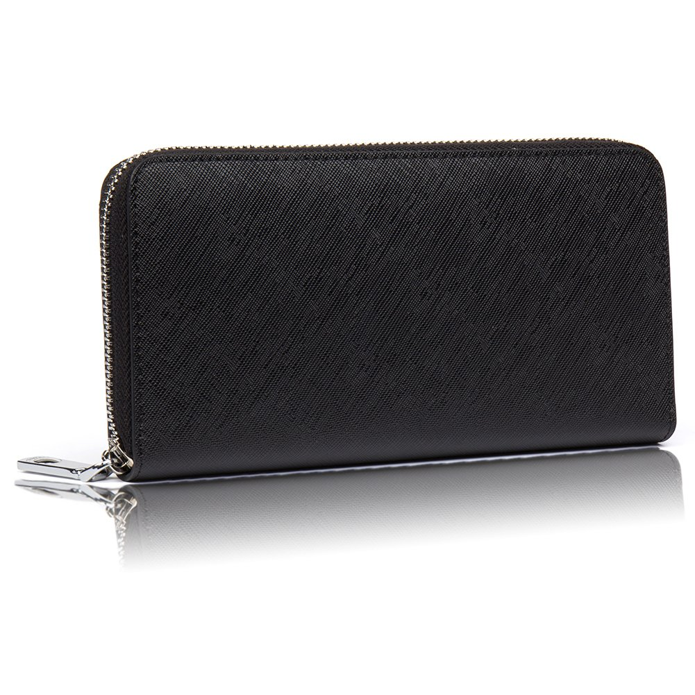 9d189accd3f7 BOSTANTEN Men's Long Wallet Genuine Leather Round Zipper Coin Purse Large  Capacity Anti-skimming