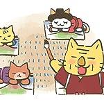 ねこねこ日本史 Android(960×800)待ち受け 「葛飾北斎、描きまくる!」