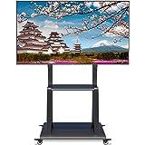 WHESWELL テレビスタンド テレビ台 TV 32~100インチ対応 大型テレビ ハイタイプ モニタースタンド 耐荷重80kg キャスター付き 移動式 壁寄せテレビスタンド 高さ調整 角度調節 ディスプレイスタンド コード収納 棚板付き 液晶TV