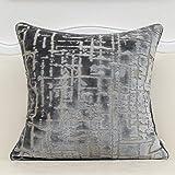 Alerfa 20 x 20 Inch Square Geometrical Plaid Striped Embroidery Cut Velvet Cushion Case Luxury Modern Throw Pillow Cover Deco