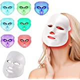 Led Face Mask Light Therapy, NEWKEY 7 Led Light Therapy Facial Skin Care Mask - Blue & Red Light Treatment Acne Photon Mask -