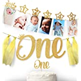 1st Birthday Gold Glitter Decorations - Handmade Monthly Milestone Photo Banner for Newborn to 12 Months, Cake Topper and ONE