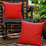 Lewondr Waterproof Outdoor Throw Pillow Cover, 2 Pack Solid PU Coating Throw Pillow Case UV Protection Garden Cushion Cover f
