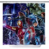 Marvel Hero Shower Curtains, Iron Man Captain America Hulk Raytheon Custom Made Machine Washable Waterproof Polyester Fabric