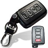 Dobrev 4 Buttons Genuine Leather Case Protector Key Fob Cover Smart Car Remote Holder for Toyota Camry Highlander RAV4 Avalon