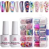 Makartt Nail Art Foil Glue Gel with Stickers Set Rose Flowers Metal Nail Transfer Gel Tips Manicure Art DIY 15ML, 20PCS (2.5c