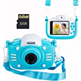MINIBEAR Kids Digital Camera, 30MP Children's Selfie Camera for Boys and Girls, 1080P Rechargeable Video Recorder with 32GB S