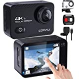 「COOAU 最新版4K/60fps」アクションカメラ 真 4K 60fps 20MP高画質 2インチタッチスクリーン WiFi搭載 EIS 手ブレ補正 170°広角 防水 水中カメラ SONYセンサー 外部マイク付き リモコン付き 防水ケース付き1