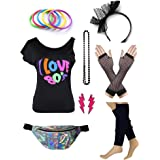 Dorigan Womens 80s Accessories Set I Love The 80's T-Shirt with Neon Fanny Packs