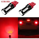 Alla Lighting Red 7440 7443 LED Strobe Flashing Stop Lights 2800lm Xtreme Super Bright T20 7440 7443 LED Bulbs High Power 573