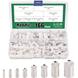 Keadic 166Pcs 12 10 8 6 4 2 1/0 2/0 Wire Ferrule Tinned Copper Crimp Connector Assortment Kit